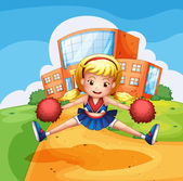 A dancing girl and a school — Stock Vector