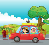 A boy and a girl in a car — Stock Vector