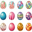 Easter eggs with colorful designs — Stock Vector