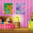 A little girl inside her colorful room — Stock Vector #20182015
