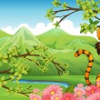 A tiger near the flowers across the mountains — Stock Vector