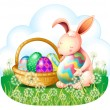 A bunny and a basket full of easter eggs — Stok Vektör