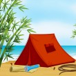 Camping at the beach - Stock Vector