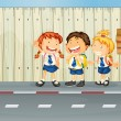 Children laughing along the road — Imagen vectorial