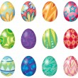 Twelve easter eggs - Stock Vector