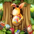 Vetorial Stock : Rabbit inside hole of tree surrounded with eggs