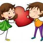 Couple holding a heart — Stock Vector