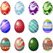 Stock Vector: Dozen of painted easter eggs
