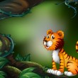 A tiger in the dark forest - Stock Vector