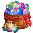 A basket full of easter eggs — Stock Vector