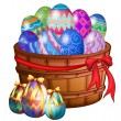 Stock Vector: A basket full of easter eggs