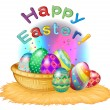 A happy easter greeting with a basket full of eggs - Stock Vector
