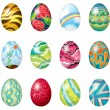 Stock Vector: Dozen of colorful easter eggs