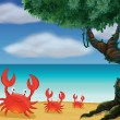 Three crabs at the seashore - Stock Vector