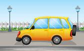 A yellow van in the street — Stock Vector