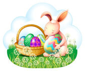 A bunny and a basket full of easter eggs — Stock Vector