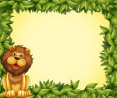 A lion and a leafy frame template — Stock Vector