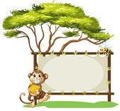 Een aap met een bananen in de buurt van de lege signalisatie — Stockvector