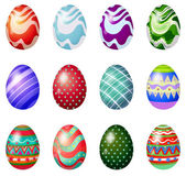 A dozen of painted easter eggs — Stock Vector