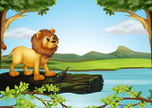 Un leone sopra un tronco con alghe — Vettoriale Stock