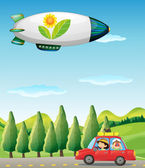 A car in the road and a spaceship — Stock Vector