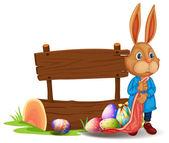 A bunny near a wooden signboard with eggs — Stock Vector