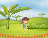 A girl playing jumping rope in the park — Stock Vector