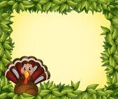 A turkey in a leafy frame border — Stock Vector