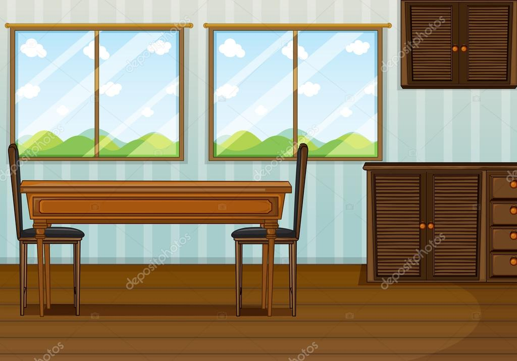 Cartoon dining room clipart for Comedor vector