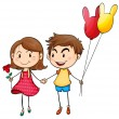 A girl with a flower and a boy with balloons — Stock Vector