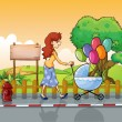 A mother strolling with a stroller — Stock Vector