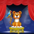Royalty-Free Stock Vector Image: A tiger and a parrot in the circus