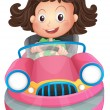 A young girl riding on a pink bumpcar - Stock Vector