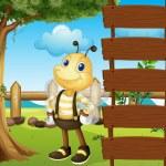 een honingbij naast een lege sjabloon — Stockvector