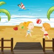 Kids at the beach — Stock Vector