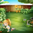 A girl studying the plants in the garden — Imagen vectorial