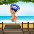 A boy at the beach — Stock Vector