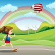 Постер, плакат: A girl running in the road and an airship above her