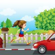A girl jogging in the street - Stock Vector