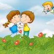 Couple in the garden with Mr. cupid — Imagens vectoriais em stock