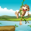 A cheerful monkey playing with the vine plant — Stock Vector