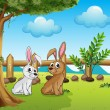 Stock Vector: Two bunnies inside fence