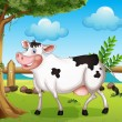 Cow in backyard — Stock Vector #20264207