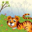 A tiger in the dark forest — Stock Vector