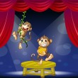Stock Vector: Two monkeys performing on the stage