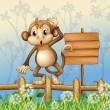 A monkey standing in a fence beside an empty board - Stock Vector