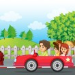 Stock Vector: Young gentlemen driving car with two ladies at back