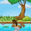 A beaver diving underwater — Stock Vector