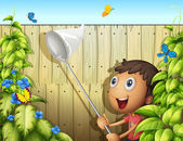 A butterfly catcher inside a yard with fence — Stock Vector