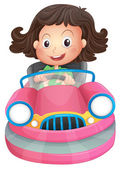 A young girl riding on a pink bumpcar — Stock Vector